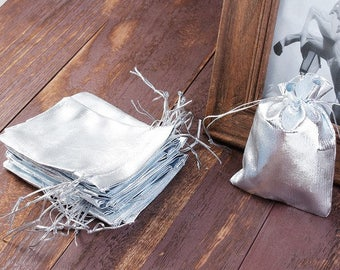 20 bags pouches 12x9cm silver packaging