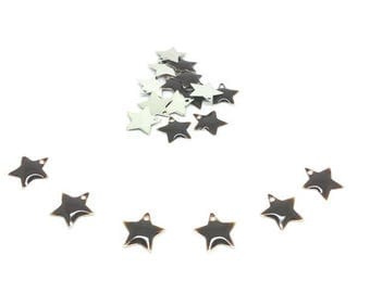 20 sequins Emailles stars dark brown 12mm
