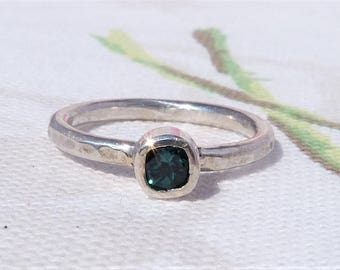 Sterling Silver Blue Tourmaline Solitaire Ring, Blue Ring, Solitaire Ring, Square shaped Ring, Blue Gemtone Ring, Boho RIng, Stacking RIng.