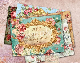 2017 calendar, calendar 2017 printable, 2017 desk calendar,  2017 Monthly Calendar, calendar easel, desk calendar, calendar, SHABBY CHIC
