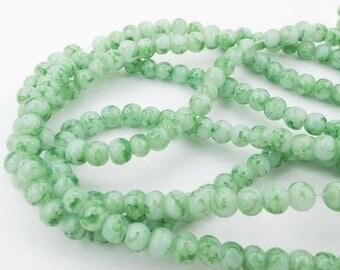 "4MM Round Glass Beads 15"" Strand Mottled Green Round Beads"