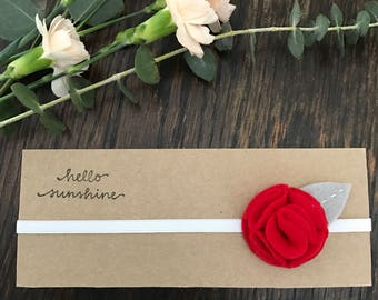 Red Felt Flower Headband for newborn/infant/baby/toddler/little girl