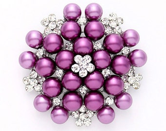 Purple Brooch, Phinesone Purple Pearl Broach, Purple Bridal Sash Pin, Purple Cake Brooch, Rhinestone Purple Brooches, Purple Bridesmaid Pin