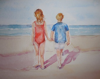 Beach painting, watercolor, original watercolor, 'Beach Buds'