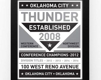 Oklahoma City Thunder Black & White Modern Team Print Framed
