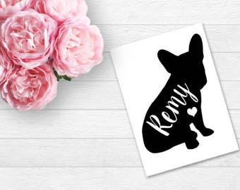 Personalized French Bulldog Decal - French Bulldog- Dog's Name Personalized - YETI Decal - Car Decal - Pet - Personalized - Made To Order