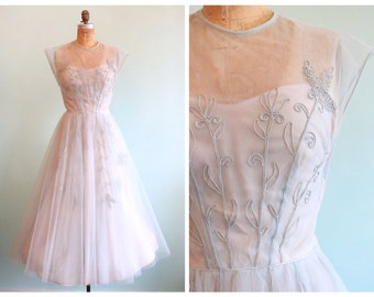 Vintage 1950's Netted Tulle Embroidered Party Dress | Size Small