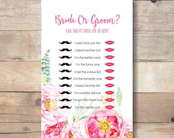 he said she said customized, bridal shower games, bride or groom game, wedding shower games, instant download bridal shower games - br57