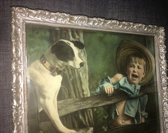 Antique Framed Painting of Dog and Boy on Fence - Pittsburgh Pennsylvania