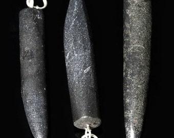 "Black Tourmaline Horn Pendant w/ Silver Bail 1.75"" (HO21DG)"