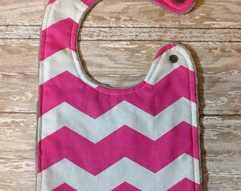 Baby Bib- Pink and White Chevron Bib, Personalized Baby Bib, Baby Girl Bib, Baby Boy Bib