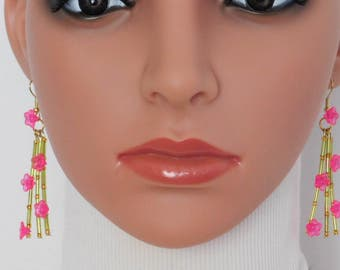 Pink Gold Chartreuse MultiStrand Bead Necklace Earrings Set