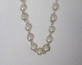 Set Silver Pearls Long Earrings Long Necklace Set