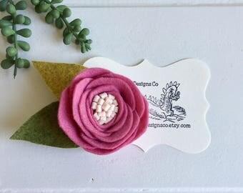 Felt flower hair clip- wool felt flower clip- felt flower clip- felt flower hair barrett