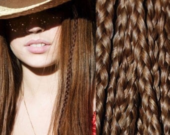 Clip In Light Brown Braid Extensions 10 And 14 Inch Length, Braided Hair Extension, Light Brown Extension