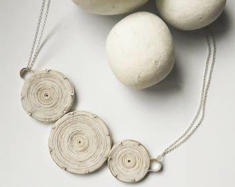 Bib necklace, Paper jewelry, Bohemian silver necklace, Boho necklace, Boho Jewelry, Boho silver jewelry, Necklace silver, Recycle jewelry