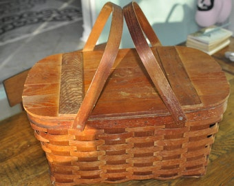 Old Wicker, Wood Top Wov-N-Wood Picnic Basket