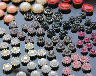 40pcs 9-19mm  diamond pearls stones beads appliques patch brooch buttons  shoes hats bags clothing decorative M52S46 free ship