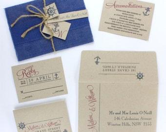 Wedding Invitations, Yacht Club Wedding, Nautical Wedding, Anchor Wedding Invitation, Vintage Nautical Wedding Invite  | LET'S GET NAUTICAL