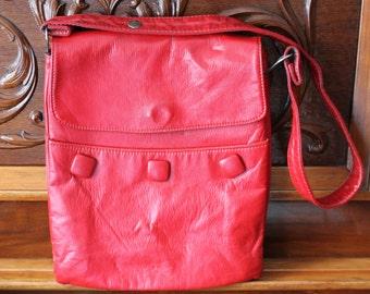 1970s Red Purse by Cabrelli , Shoulder Bag Adjustable Strap