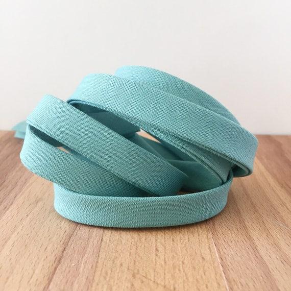 "Kona Cotton in Sage 1/2"" double-fold bias tape- Blue/Green- 3 yard roll"