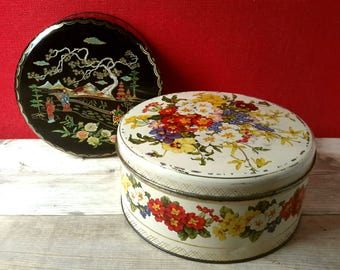 XL Biscuit Tin flowers, candy drum 60s, brocante Biscuit Tin, large cookie jar, granny chic décor, container made in England, shabby chic
