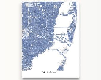 Miami Map Print, Miami Florida, City Street Map Art