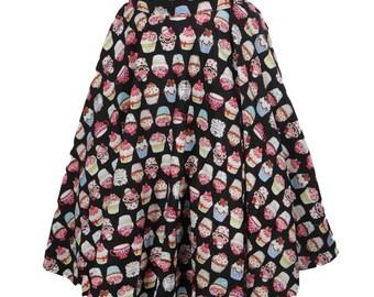 Full Circle Skirt Cupcake Skirt Birthday Skirt Swing Skirt Kawaii Clothing Pin Up Skirt Rockabilly Clothing 50s Retro Party Pin Up Clothing