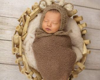 mohair reindeer bonnet newborn photo prop