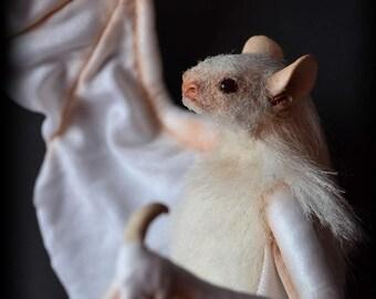 Bat white Soft Sculpture, Handmade OOAK toy, stuffed bat, Art Doll, Animal sculpture, Textile Taxidermy