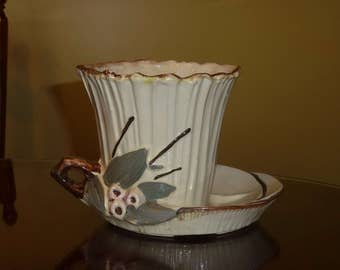 Vintage McCoy Planter with Attached Saucer Berries and Leaves