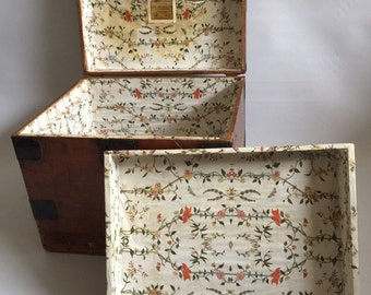 Fabulous 19th Century Square Pine Box With Steel Strapping