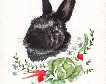 Custom Pet portrait Watercolor, bunny portrait, pet portrait painting, watercolor pet portrait, custom pet portrait