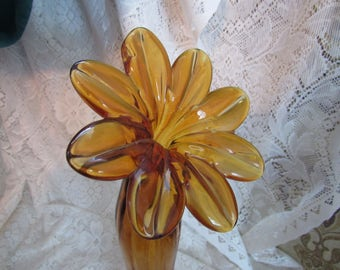 Tall Art Glass Flower Shaped Vase