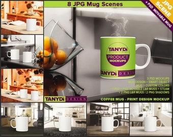 11oz Coffee Mug Photoshop Styled Mockup | White Mug in Kitchen | Mug on Wood Table | 8 JPG scenes