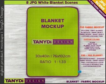 Fleece Blanket Full Top | PSD Styled Mockup | 8 JPG scenes | Rounded corners 30x40 Blanket on Wood Floor B3 | Custom colors