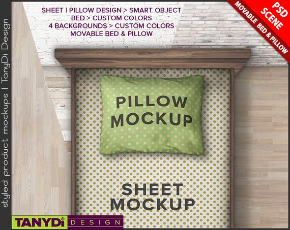 Bedding Set Photoshop Styled Mockup | Twin Bed Sheet and Pillow Close-up top view | Wood Floor BS1