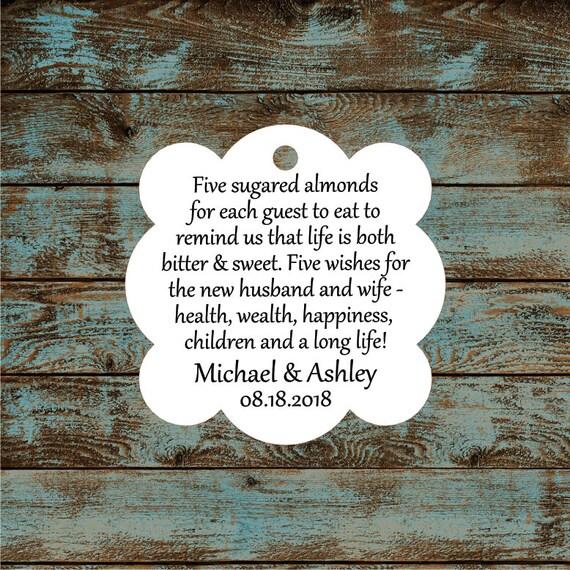 Favor Tags, Jordan Almond Favor Tags, Sugared Almond Favor Tags, Italian Wedding Favor Tags #685 - Qty: 30 Tags