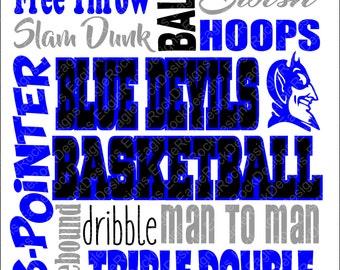 Blue Devils Basketball Subway Art SVG, DXF, EPS Digital Cut File for Cameo and Cricut, Blue Devils Svg, Basketball Svg, Basketball Mom Svg
