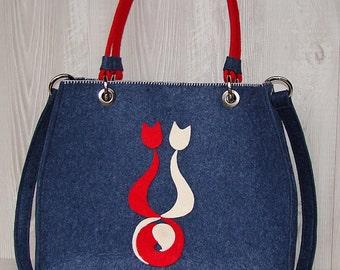 """Felt bag """"Blue Cats"""""""