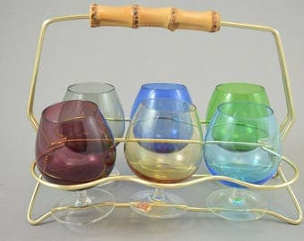 Six Cognac Glasses In Brass Stand / Mid Century Barware / MCM / Rockabilly  House Bar, Italy
