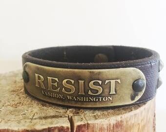 Studded Leather and Brass Resist Cuff Bracelet