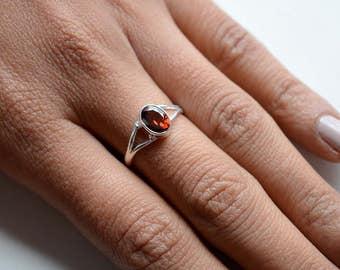 Garnet Stone Sterling Silver Ring, Stacking Ring, Birthstone Ring, 925 Silver Ring, Natural Gemstone Rings - SKU 467