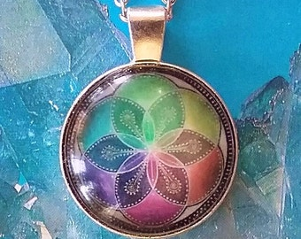 Large SILVER 3D Sacred Geometry Seed of Life PENDANT With Silver Chain and Gift Box