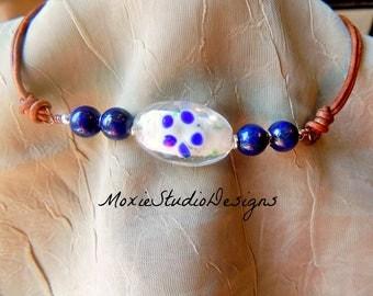 Leather choker necklace, lapis lazuli choker necklace, summer necklace, Beach Necklace, Beach Accessories