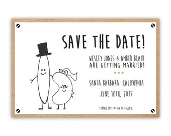 Bean and Rice Wedding Save the Date Card