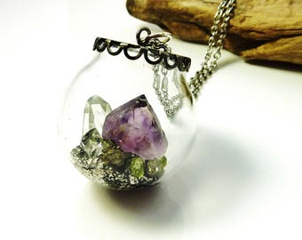 Terrarium necklace- raw amethyst neckalce-crystal pendant necklace-crystal terrarium-crystal garden necklace- raw stone necklace