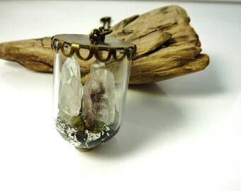 Terrarium necklace-raw crystal necklace-raw quartz point necklace-raw rock jewelry-landscape necklace-raw crystal jewelry