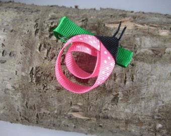 NEW pink lady bug ribbon art hair clip