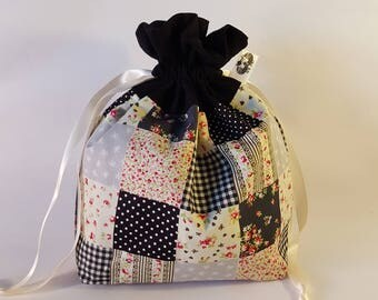 "Small Lined DRAWSTRING BAG, PATCHWORK, #70, 10""x7""x3"", project bag, storage bag"